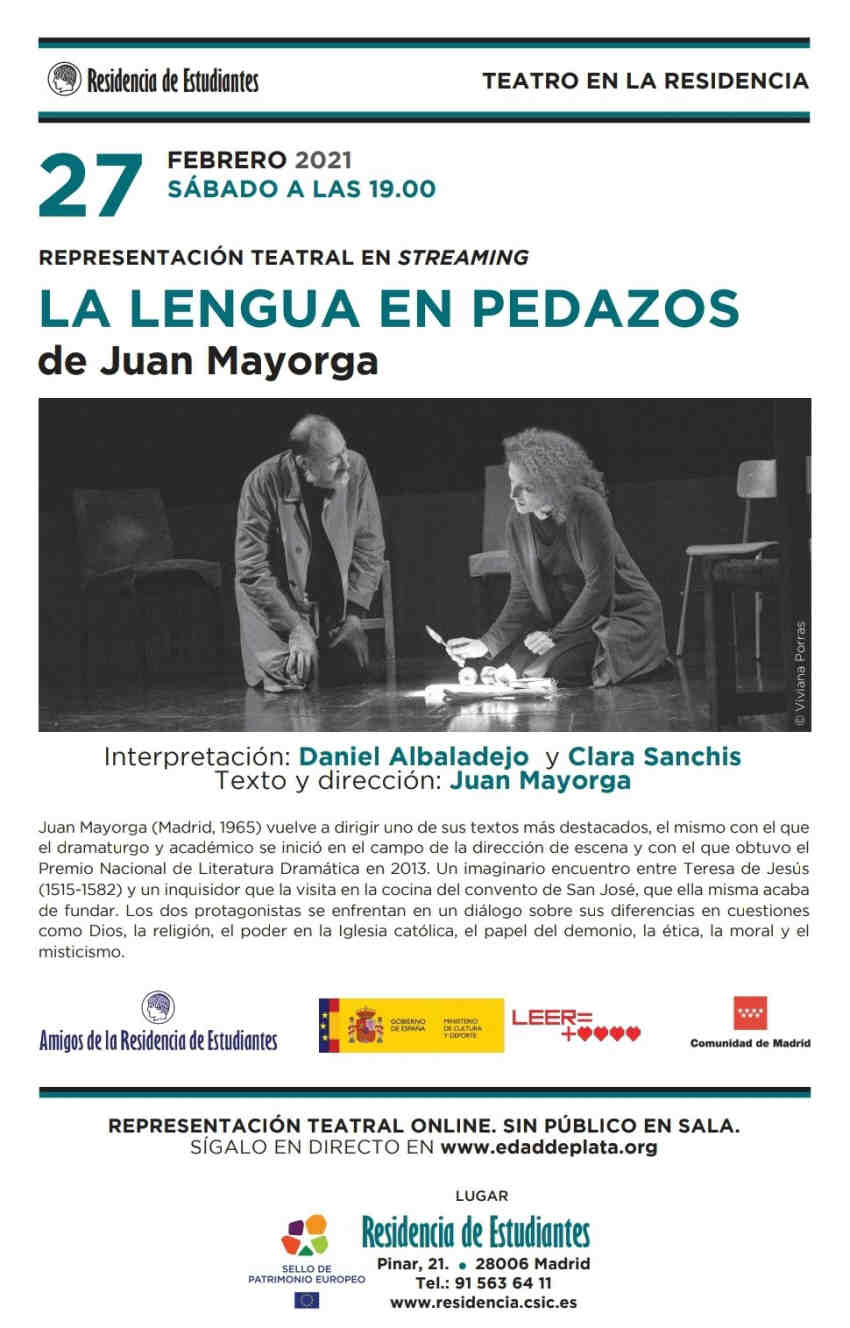 La lengua en pedazos Juan Mayorga Clara Sanchis Daniel Albaladejo